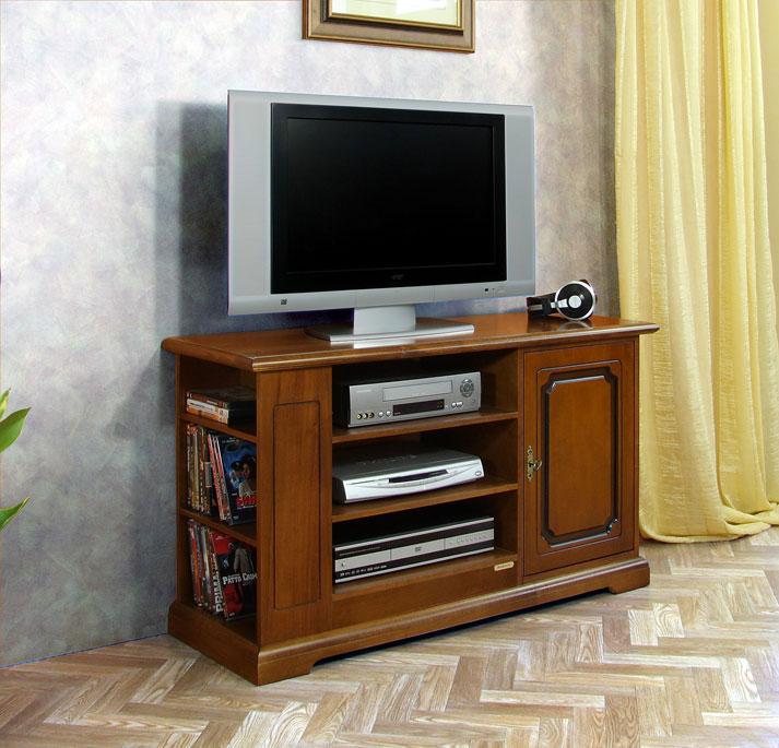Mobile porta tv in legno con vano per lettore dvd e scaffali stile classico ebay - Scaffali porta cd ...