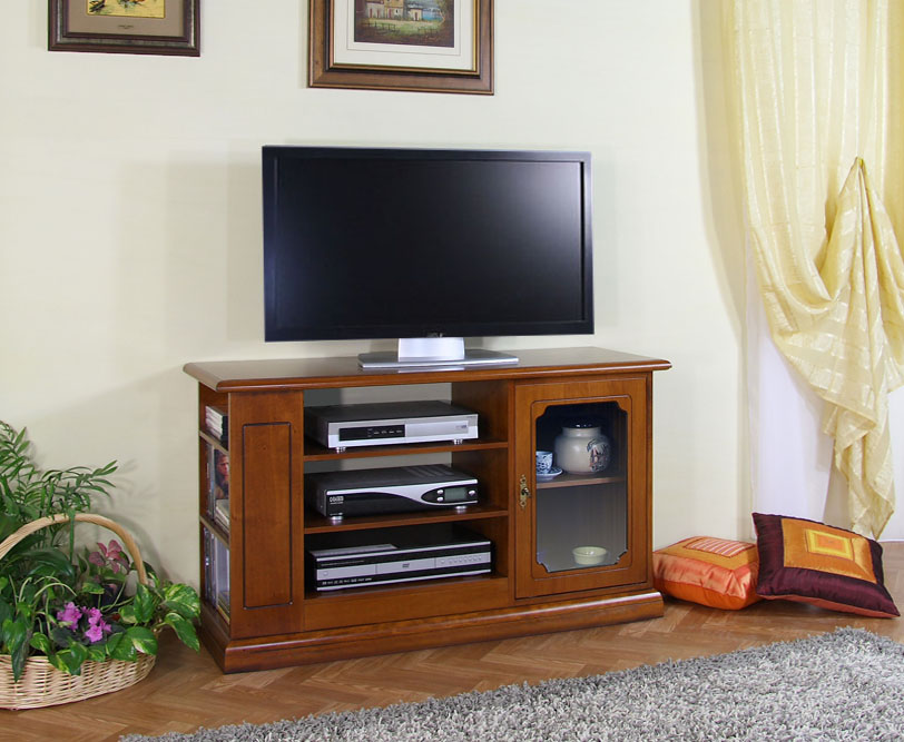 Porta tv in legno con antina a vetrinetta e ripiani arteferretto