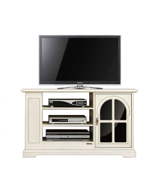 Mobile porta TV con vetro nero e scaffalatura, Art. 3657-AV