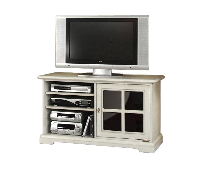 Porta tv in legno laccato mobiletto tv mobile classico for Mobile soggiorno classico bianco