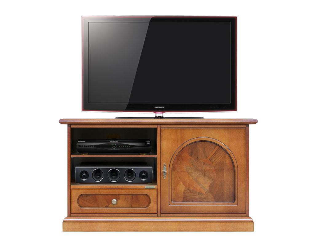 Mobile tv, mobiletto porta tv in legno con radica, mobile classico ...