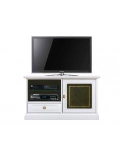 Mobile porta TV bianco con pelle verde