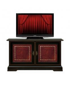 Porta tv basso nero in legno stile classico 2 ante in pelle