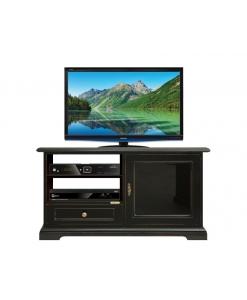 Porta tv nero con anta in vetro nero