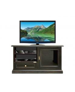 Porta tv nero con anta in vetro nero, Arteferretto