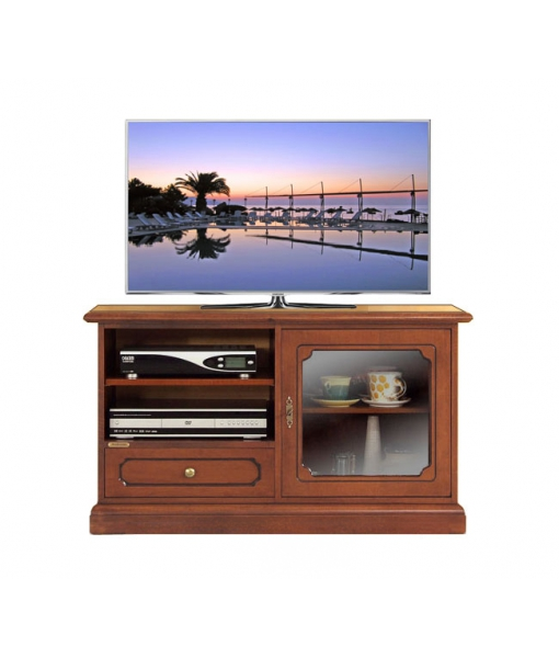 Porta TV Midi con antina a vetrinetta e cassetto - ArteFerretto