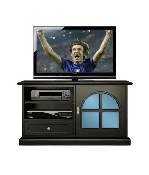 Porta tv in stile laccato nero con metacrilato, Art. 3837-Black