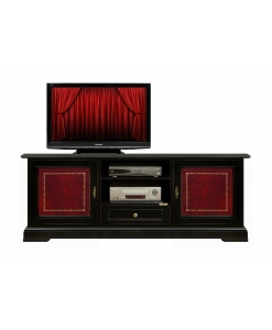 mobile tv, porta tv, mobile in legno, inserti in pelle