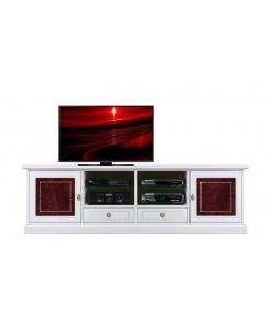 Mobile porta tv laccato con inserti in pelle rossa