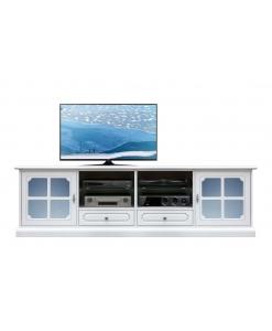 Mobile porta tv basso laccato con ante vetro azzurro satinato