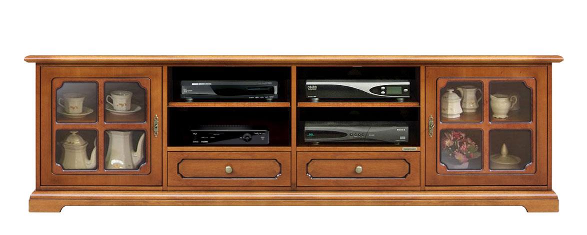 Mobile in legno porta tv classico con vetrine e ampi vani - Mobile porta tv classico legno ...