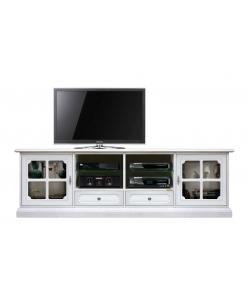 Mobile porta tv, in legno, 2 metri, laccato bianco