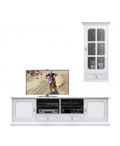 Composizione mobile parete tv con vetrina pensile