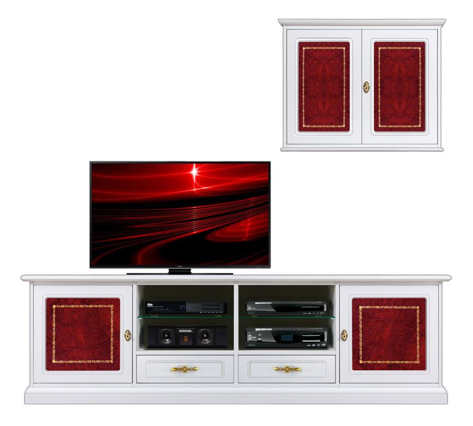 Mobile porta tv con pensile 2 ante legno e inserti in - Mobile tv a parete ...