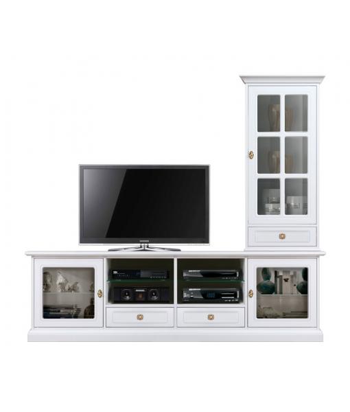 Composizione soggiorno laccata porta tv e vetrina, Art. 4015-QV