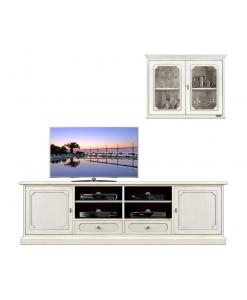 Mobile parete tv base e vetrina pensile Arteferretto