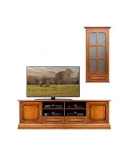 Parete tv soggiorno 2 metri da salotto in legno stile classico