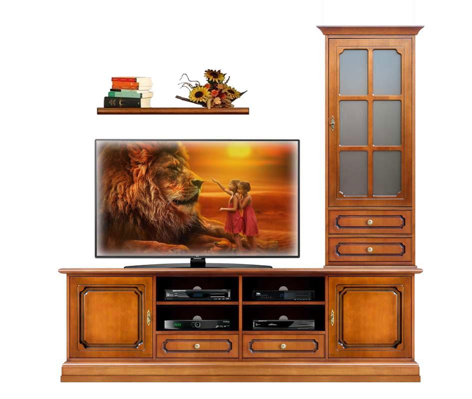 Composizione per parete soggiorno, mobile tv vetrinetta e mensola ...