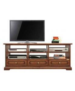 mobile porta tv 3 vani e 3 cassetti in legno stile classico