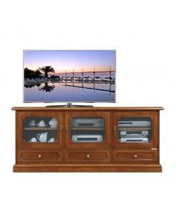 mobile porta tv, mobile porta tv in stile, mobile in stile, mobile per soggiorno, mobile in legno, arredo soggiorno, mobile con antine in vetro, mobile tv con cassetti