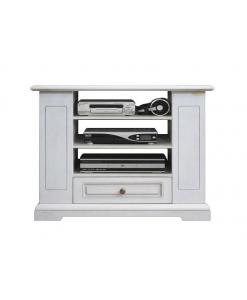 Porta tv con cassetto in legno laccato bianco, da salotto o cucina