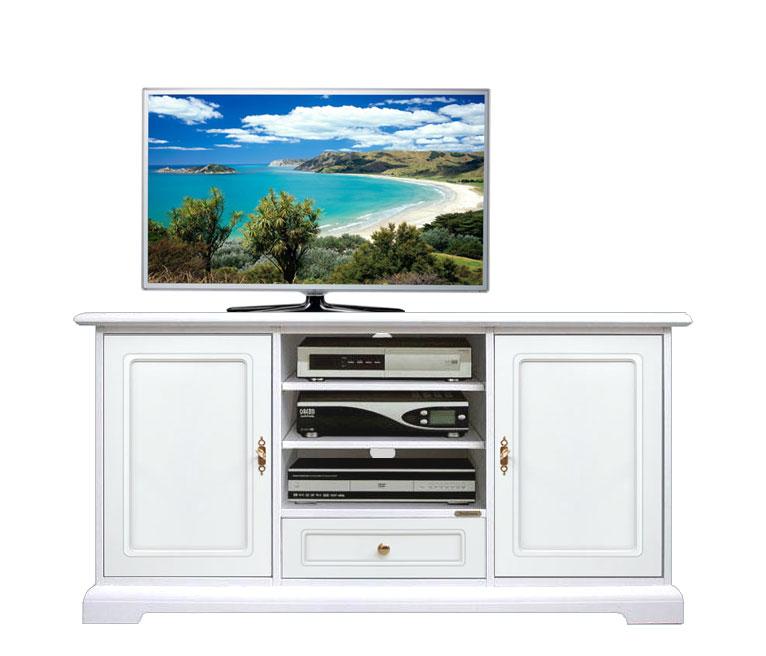 Mobile soggiorno bianco mobile tv legno laccato bianco for Mobile soggiorno classico bianco