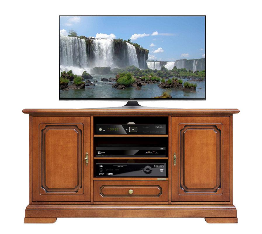 Mobile tv alto in legno, mobiletto porta tv per soggiorno, 2 porte e ...