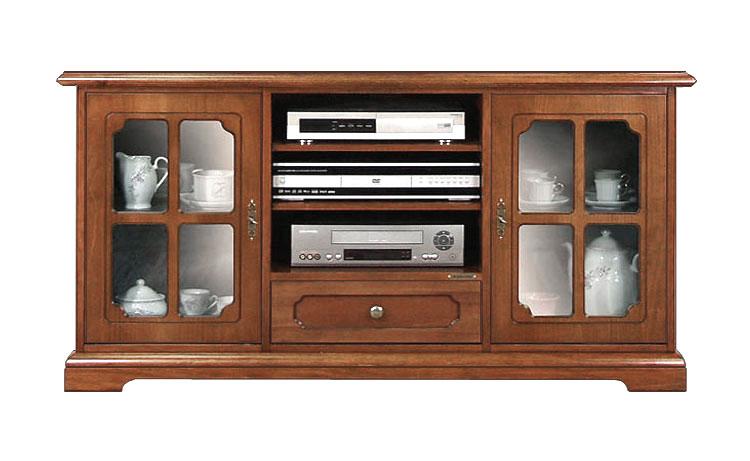 Porta tv plasma lcd mobile tv in legno con vetrinette - Mobile porta tv classico legno ...