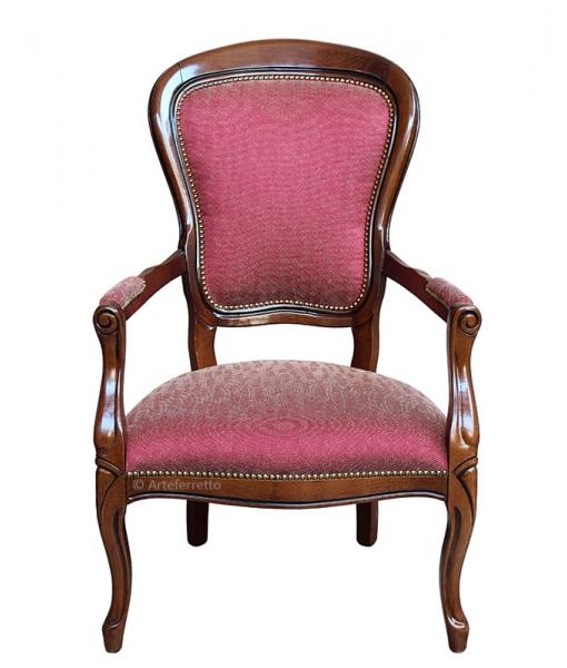 poltrona bassa in stile Luigi Filippo, poltrona in stile, poltrona classica, Art. 435