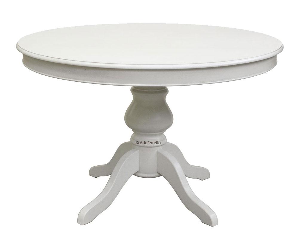 Tavolo tondo con allunghe stile luigi filippo 110 cm - Tavolo rotondo allungabile bianco ...