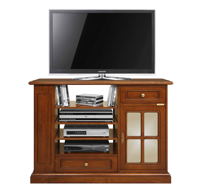 Mobile porta tv alto in legno con ripiani e scaffali per - Porta dvd in legno ...