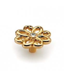 pomolo fiore oro swarovski, pomello maniglia Swarovski oro lux