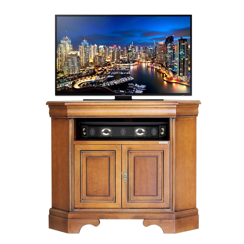 Porta TV ad angolo salva spazio in legno - ArteFerretto