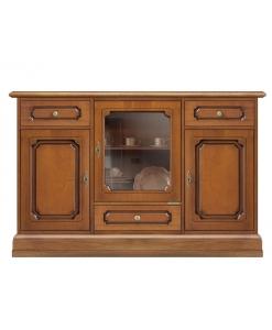 Credenzina vetrina in legno con ante e cassetti