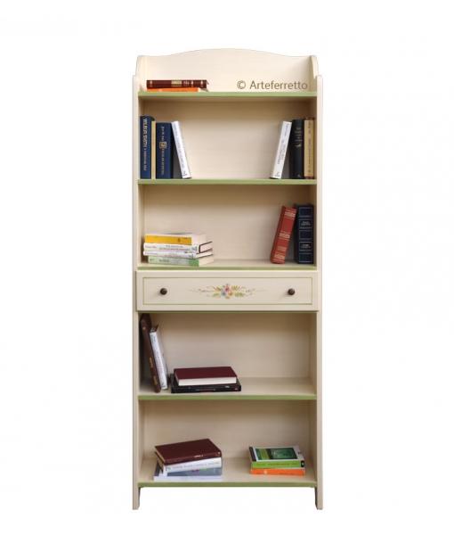 Libreria con cassetto laccata e decorata