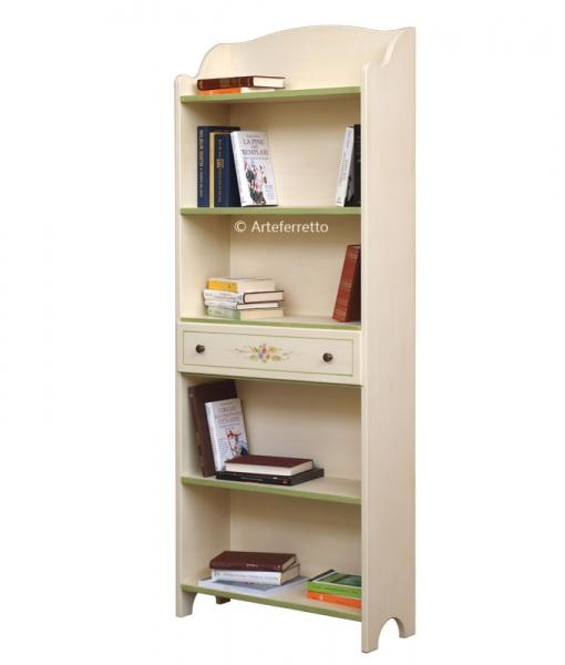 Libreria decorata a mano ad effetto anticato