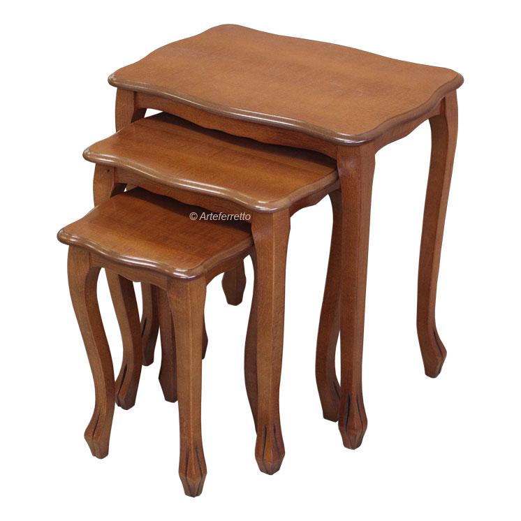 Tavolini da salotto, tris di tavolini stile classico, tavolini in ...