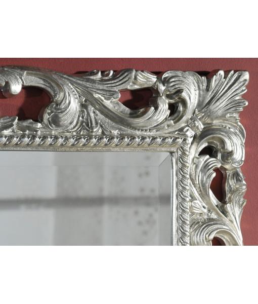 Specchiera classica cornice in legno foglia argento
