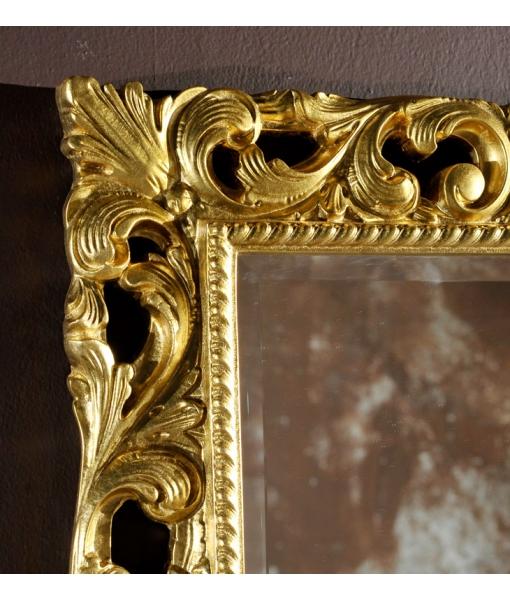 Specchiera classica legno foglia oro