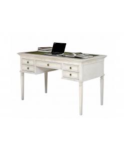 Scrivania da ufficio classica, scrivania bianca, scrivania 5 cassetti