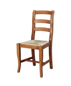 Sedia in legno con fondo in paglia