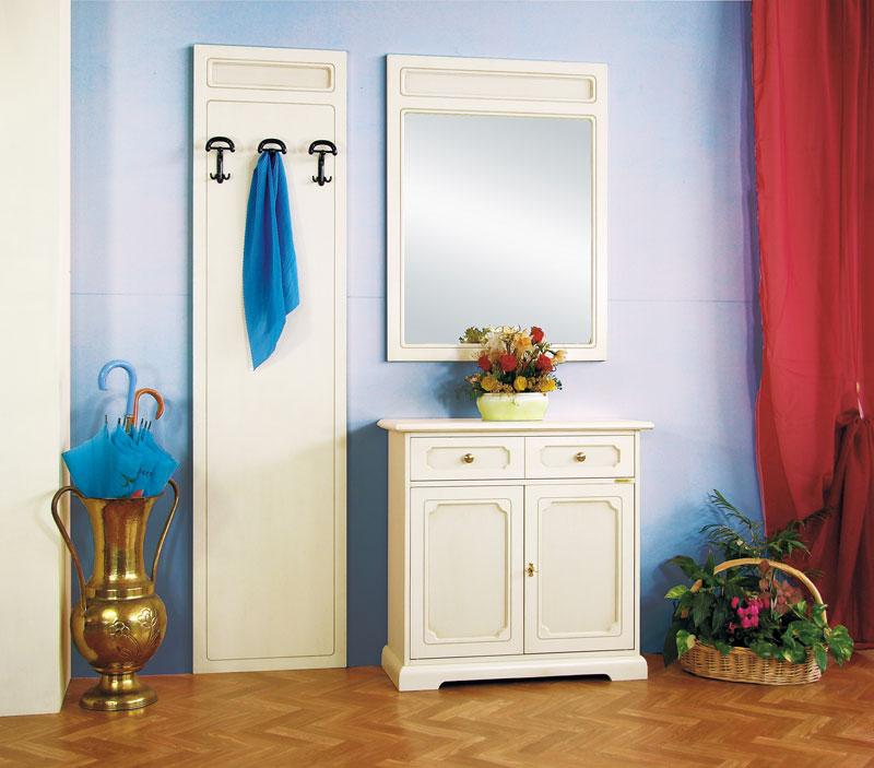 Composizione mobili ingresso in legno laccato specchio credenza appendiabiti ebay - Mobili ingresso con specchio ...