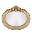 Specchiera ovale avorio e foglia oro
