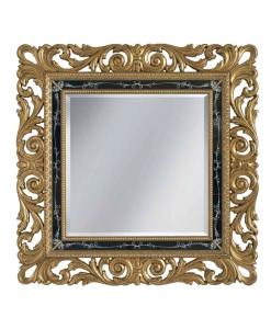 Specchio foglia oro in legno con intagli