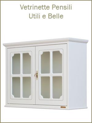 Categoria Vetrine, pensili o da appoggio, sono adatte ad ogni ambiente, da 1 a 4 ante, con vetro trasparente od opaco, vetrine bianche o tinta legno