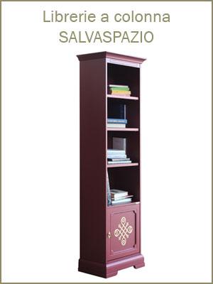 Categoria librerie a colonna con ripiani regolabili, con ante o cassetti, tinte classiche o laccate, decorazioni foglia oro, librerie da studio, ufficio, salotto