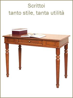 Categoria scrittoi e scrivanie da ufficio, studio o camera da letto, angolo lettura, con cassetti e tiretti, piano in legno e in pelle, stile provenzale, stile classico