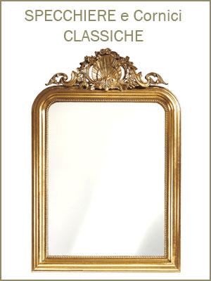 Categoria specchiere, per l'ingresso, salotto o camera da letto, cornici classiche e intagliate oppure semplici e lineari, finiture preziose con oro o argento