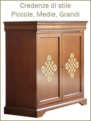 Categoria credenze, in legno con ante e cassetti, stile classico, alta qualità, tinta ciliegio noce bassano, bianco avorio nero, da salotto soggiorno