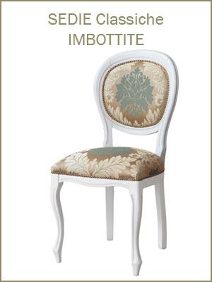 Categoria sedie per sala da pranzo o salotto, in legno massello di faggio, con imbottitura rivestita di tessuto o pelle a scelta, ciliegio noce bassano, bianco avorio nero, tappezzeria artigiana